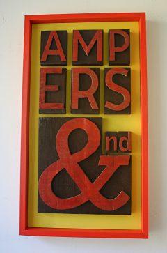 wood ampersand typographic art