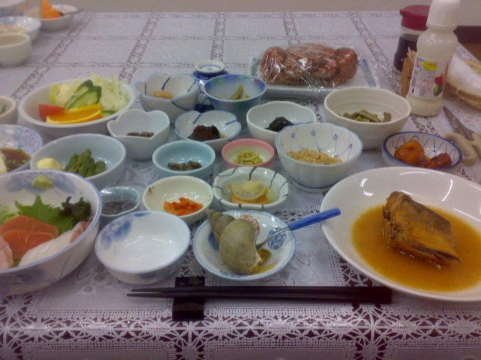 Minshuku dinner in Utoro onsen