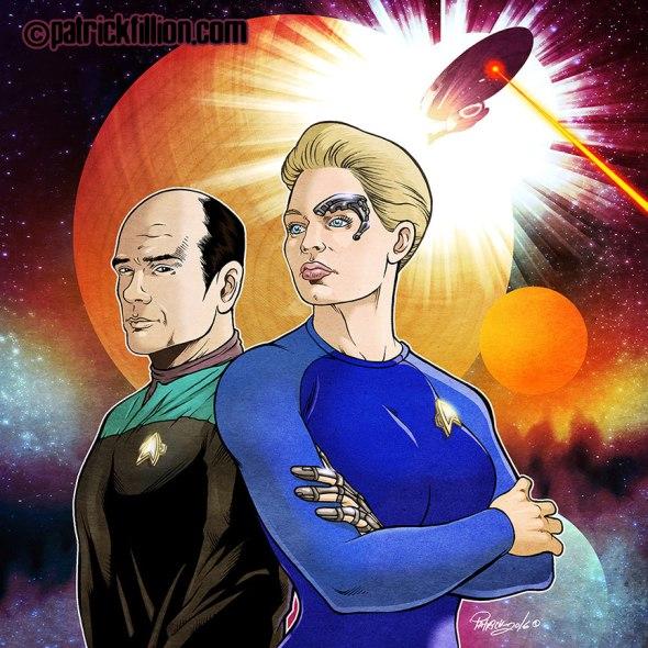 Star Trek VOYAGER anniversary Fan Art by Patrick Fillion.