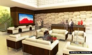 Hotel lobby 3D rendering