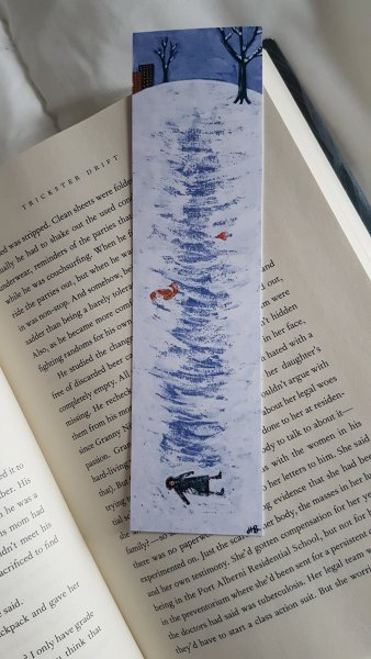 A bookmark painted by Hallie Bateman