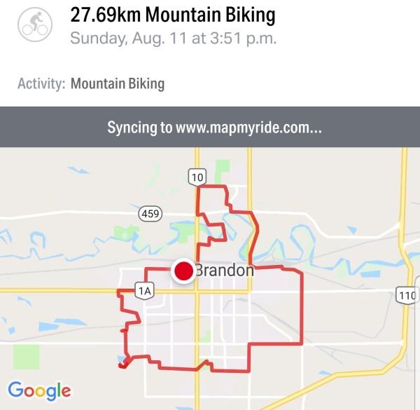 Map of my 27.69-km bike ride