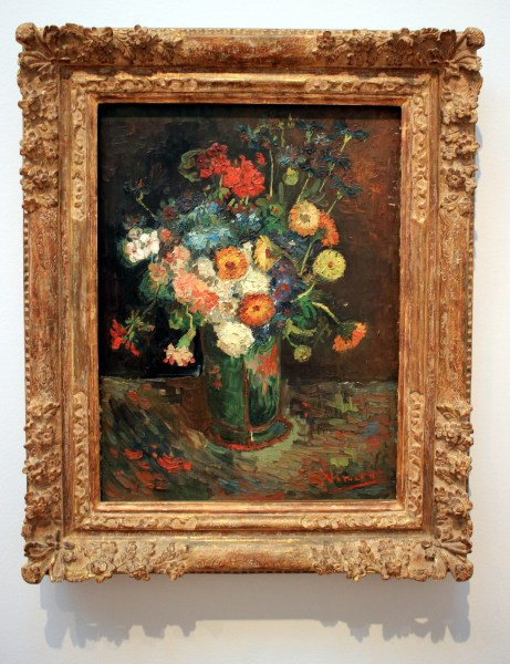 Vase with Zinnias and Geraniums, by Vincent van Gogh