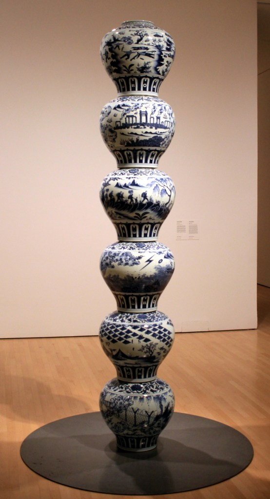 Stacked Porcelain Vases as a Pillar, by Ai Weiwei
