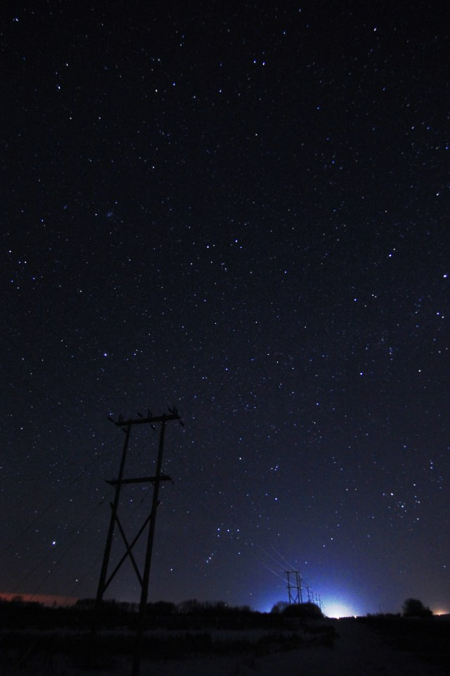 Prairies starscape, featuring Orion and a power transmission tower