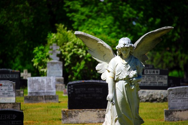 Angel statue in the graveyard