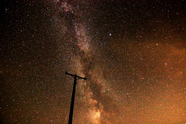 The Milky Way behind a telephone pole