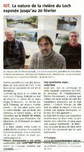 Article Télégramme Exposition Patrick Lecouffe à l'IUT de Vannes