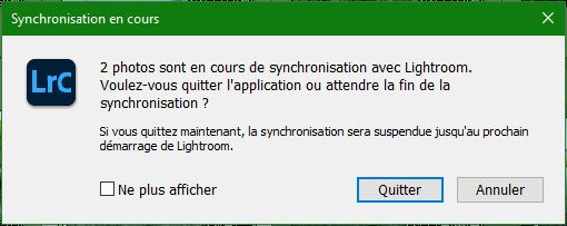 Message erreur synchro
