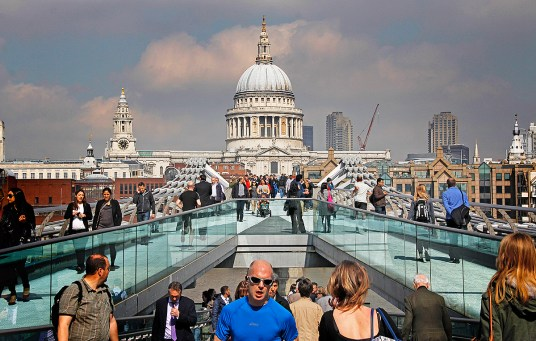 Millennium Bridge and St. Paul's Cathedral, London. ©Patrick J. Lynch, 2017. All rights reserved.