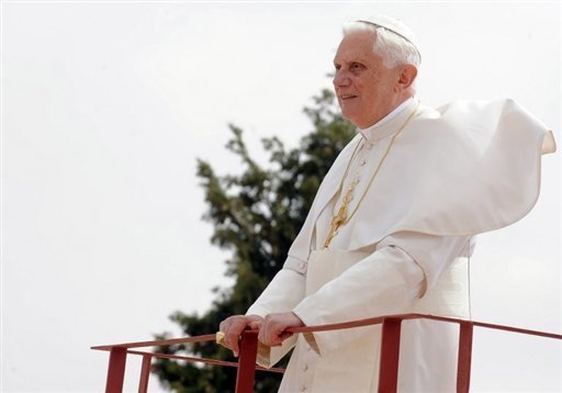 "Pope Benedict gazes upon ""the promised land"" where Moses once stood atop Jordan's Mt Nebo"