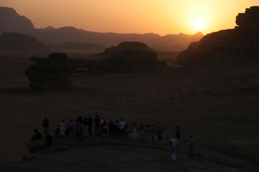 The sun sets at Wadi Rum