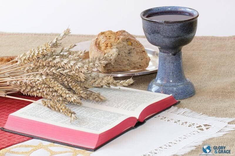 Daily devotional life showing the Bible and some food