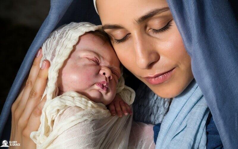 Savior Born image showing Mary and Baby Jesus