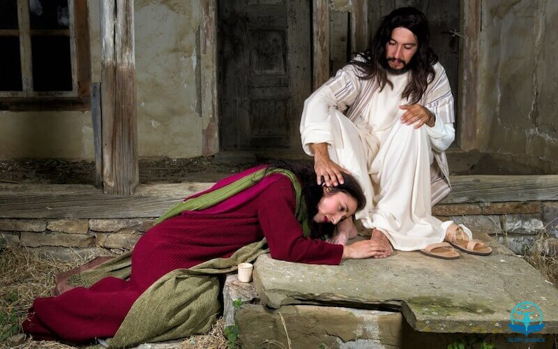 Anointed with fresh oil showing a sinner at the feet of the Master
