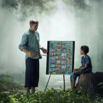 The Holy Spirit as Teaching showing a man teaching the son