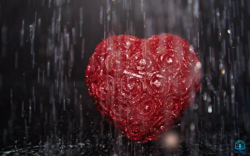 Sound of abundance of rain showing a heart in rain