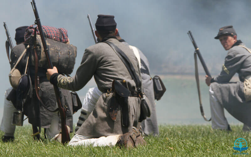 Weapon of our warfare are not carnal showing an image with soldiers in the US civil war
