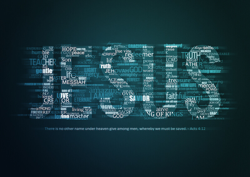 Jehovah titles showing the name Jesus spelt out