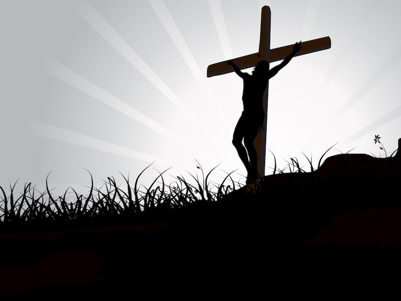 It is finished showing an image of Jesus on the cross