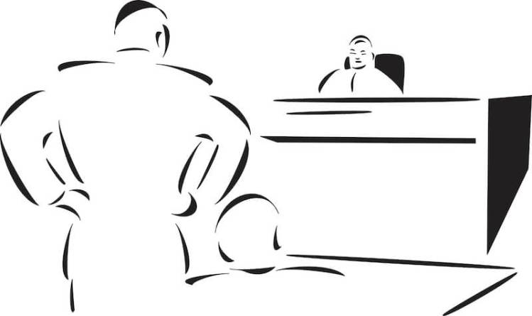 Holy Spirit as Comforter showing a man with a lawyer in court