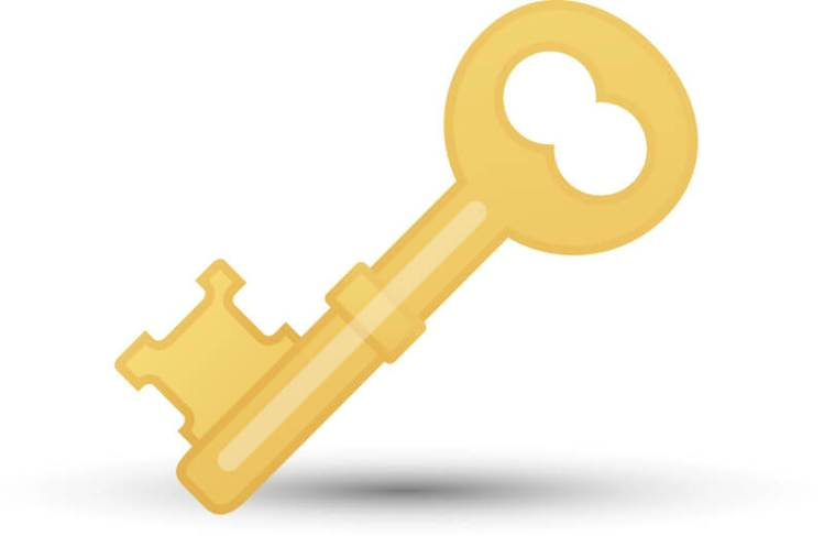 the key of knowledge showing a gold key