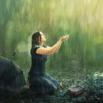 let us cleanse ourselves from all defilement of body and spirit showing a woman under the rain
