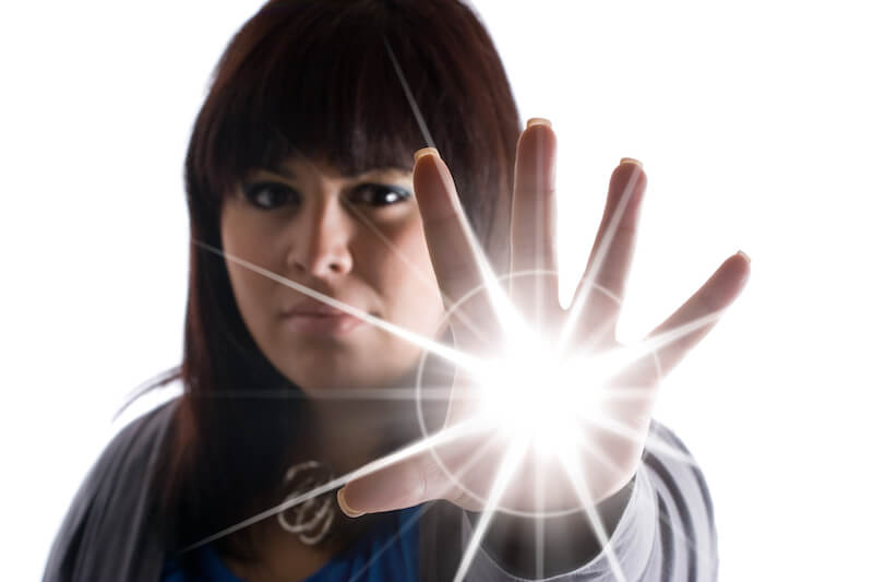 three spheres of manifestation of God's power showing a woman with light in her hands