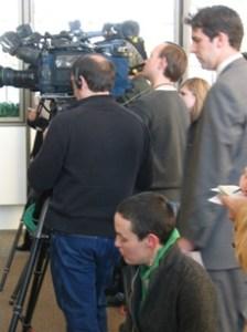 Reporters prepare for news conference in Gerard Cellette Ponzi case.