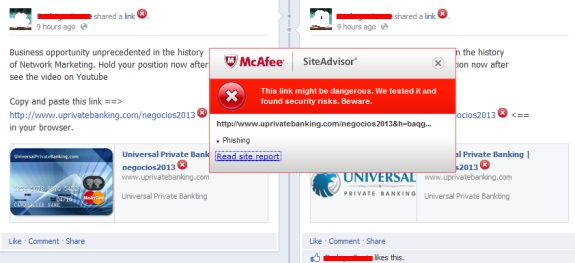 "A McAfee Site Advisor warning on ""YouPrivateBanking"" popped up on Facebook last night. Redactions by PP Blog."