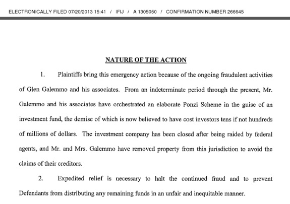 From a civil complaint by investors against Glen Galemmo.