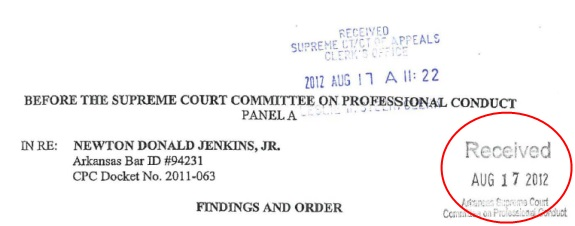 One of the suspensions of the law license of N. Donald Jenkins Jr. was docketed on Aug. 17, 2012, the same day the SEC moved against Zeek Rewards. (Red highlight by PP Blog.)