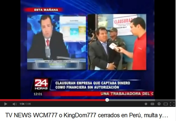 As a reporter interviews a Peruvian official at the scene of a police raid against a WCM777 outlet, an image of American pitchman Harold Zapata flashes on the screen. Source: YouTube.