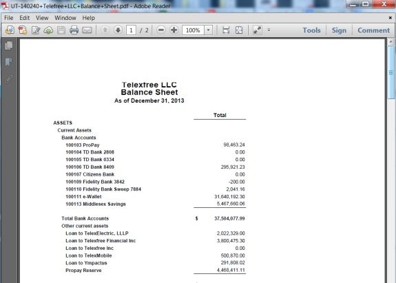 "Part of the TelexFree LLC ""Balance Sheet"" was it appears on the website of the Washinton state XXX."