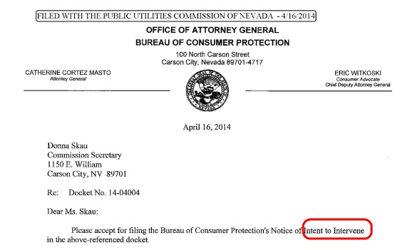 The office of Nevada Attorney General Catherine Cortez Masto intends to intervene in TelexFree-related matters before the state Public Utilities Commission, according to this filing. Source: Nevada Public Utilities Commission. Red highlight by PP Blog.