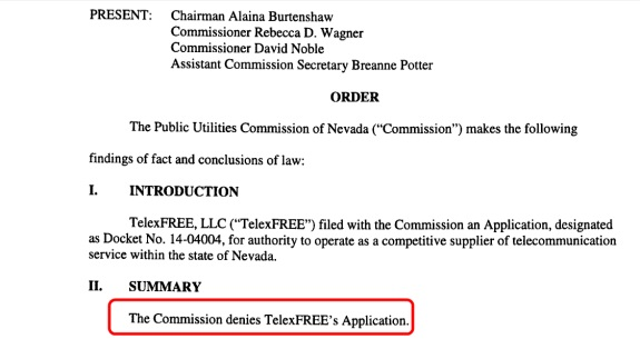 The Nevada Public Utilities Commission has rejected TelexFree's telecom application. Image source: PUC document. Red highlight by PP Blog.