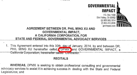 "Ming Xu is called ""DPMX"" in this purported contact with a lobbying firm. Source: Federal court files."