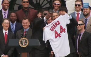 The Red Sox with the President on April 1. 2014. Source: White House video.