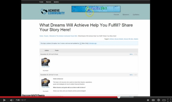 "This ad for ""Cycles 24/7,"" a Ponzi-board ""program,"" appears in the Achieve Community forum. Source: YouTube promo for Achieve."