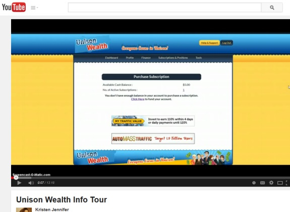 "As ""Achieve Community"" promoter Jristen Jennifer shows her back office in the ""Unison Wealth"" program, ads for other ""programs"" appear, including some ""programs"" on well-known Ponzi-scheme forums."
