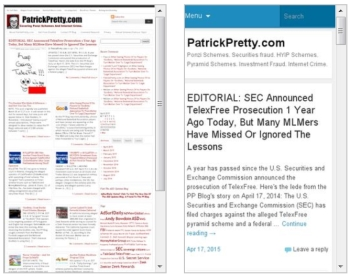 The PP Blog on a desktop or laptop (right), and the Blog on an Android or Windows mobile phone (left).