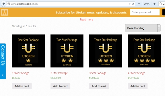"This screen shot from the ""shop"" section of website of UTokenUSA shows that orders were being solicited for UTokens and prices between $635 and $12,100.  Not shown is a solicitation for orders at a level of $57,500. Whether orders successfully were placed is unclear. At some point, these words appeared on the site: ""?01-31-2015? In order to work with the system planning, the Utrade trading system will pause for 7 days, from 00:00am, 1st February 2015 and re-open 00:01am 8th February 2015 for system upgrades and conversion of tradable UToken for investment liquidity planning. We will still be able to create membership accounts, but you will not be able to buy, sell, or trade Utokens until February 8, 2015."""