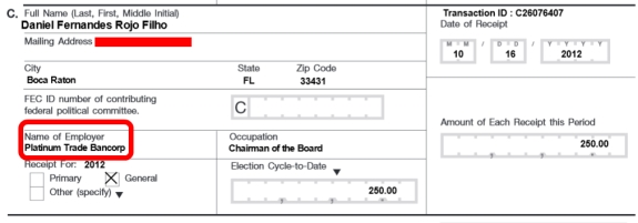 Federal Election Commissiobn records list this donation from Daniel Fernandes Rojo Filho to the 2012 relection campaign of President Obama. Red highlights/redaction by PP Blog.