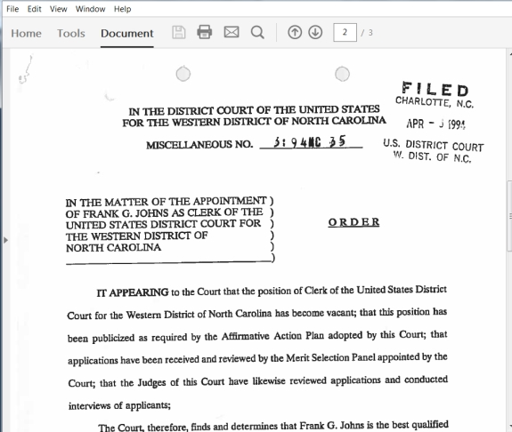 Viewed as a PDF, this is a section from a court order signed by three federal judges appointed by the President of the United States. The order from April 1994 officially appointed Frank G. Johns cler of the U.S. District Court for the Western District of North Carolina.