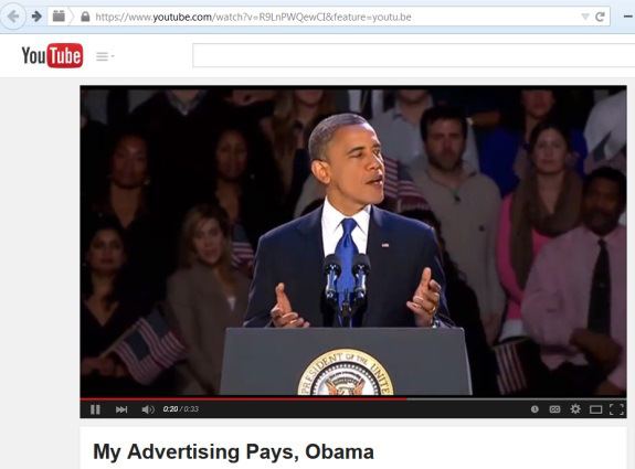 """From PP Blog archives: On April 2, a video depicting President Obama as a fan of the MyAdvertisingPays """"program"""" appeared on YouTube. An """"Obama voice"""" was dubbed into the video, which also shows the Presidential Seal. Text below the video reads, """"Mr. President speaks about the new advertising revolution."""""""