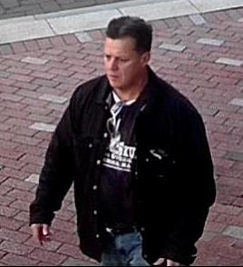 """This """"person of interest"""" dropped a suspicious package near a Department of Homeland Security vehicle in downtown Boston this morning. Source: Boston Police Department."""