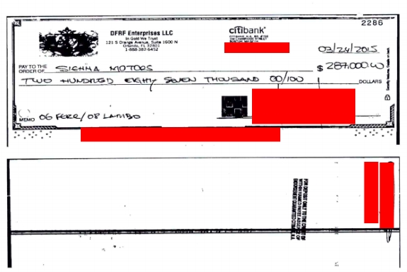 In court filings, the SEC says it has traced the ownership of a 2008 Lamborghini once owned by TelexFree figure Sann Rodrigues and determined the car once was owned by accused DFRF Enterprises' Ponzi schemer Daniel Fernandes Rojo Filho. This was the check Filho used to purchase the vehicle. Source: Federal court fililes. Masking by PP Blog.