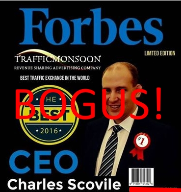 This bogus Forbes' cover says Charles Scoville was 2016's BEST CEO. (Red markings by PP Blog.)