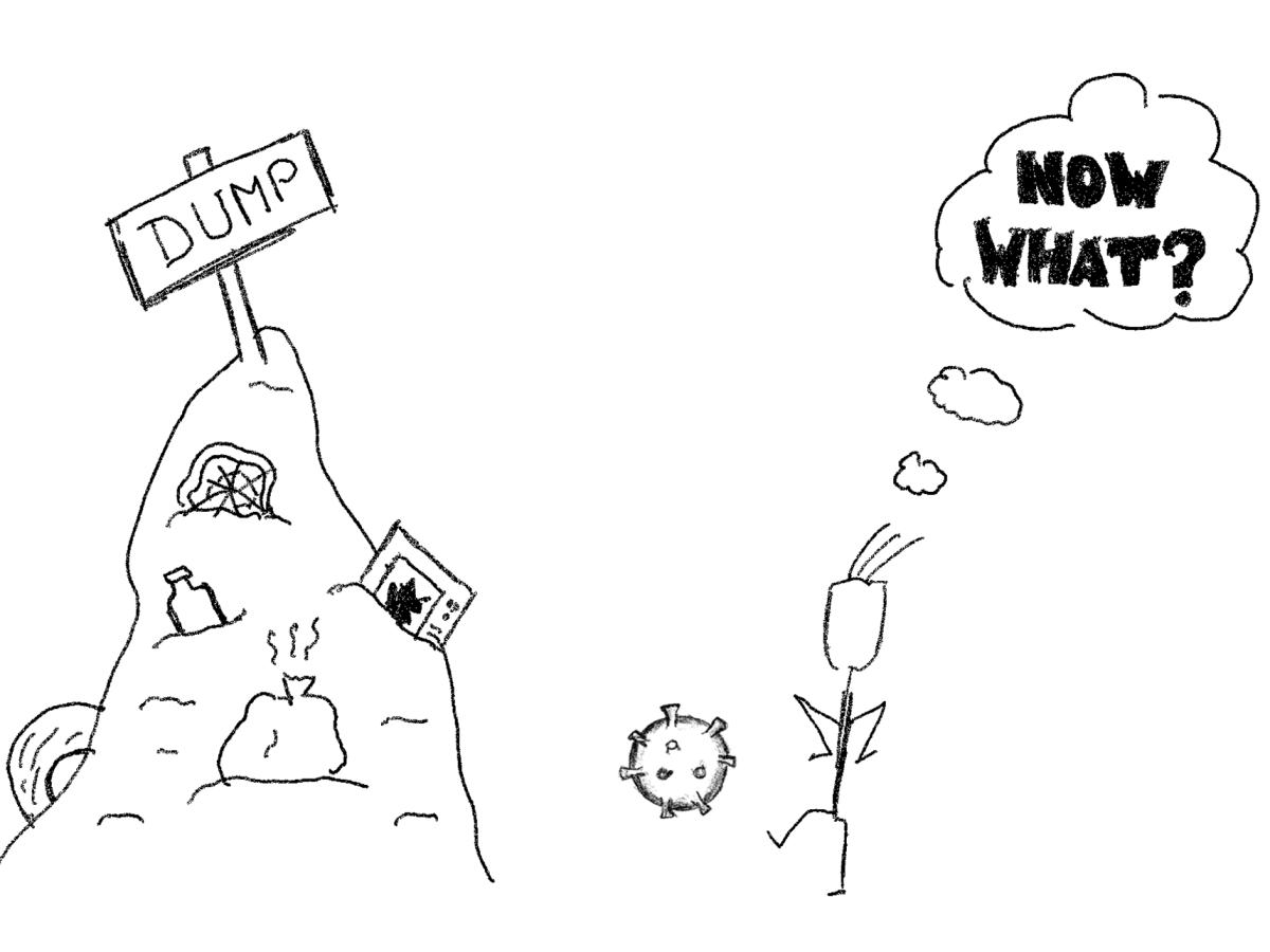 Müllkippe und Mensch, der Coronavirus wegwirft