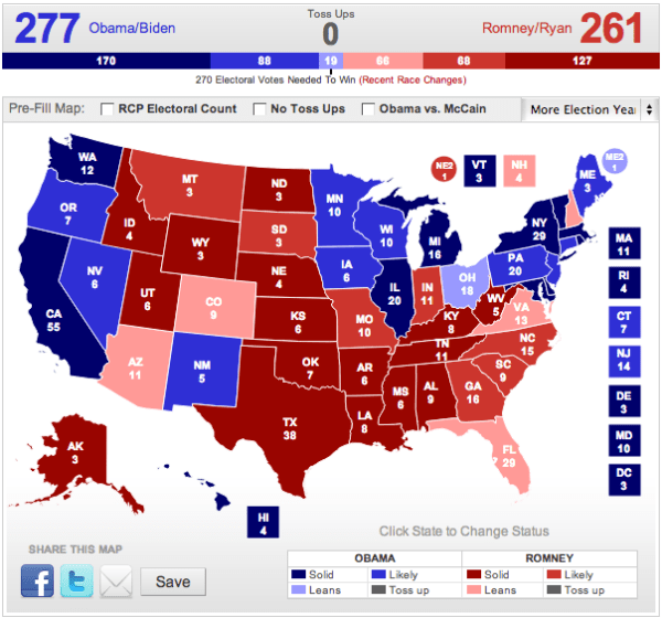 Pat's Electoral College 2012 prediction